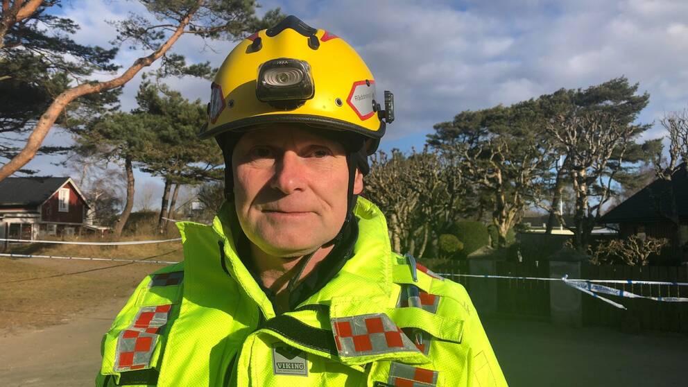 Brandingenjör Magnus Eriksson på Östra stranden i Halmstad.