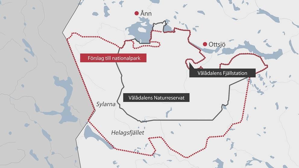 Karta över Vålådalen-Sylarna-Helagsområdet.
