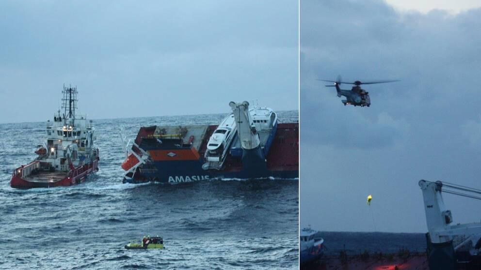 Här hissas personal ombord från helikopter. Nu ska bärgningsbåtarna bogsera fartyget till land under natten.