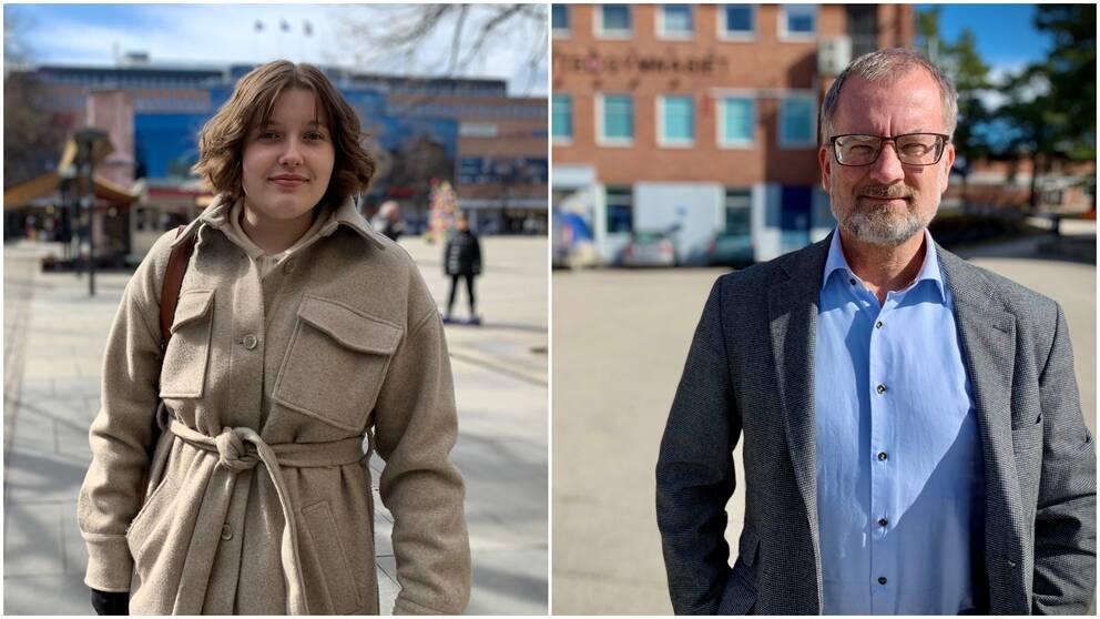 Två bilder i kollage, en tonårskvinna och en manlig rektor