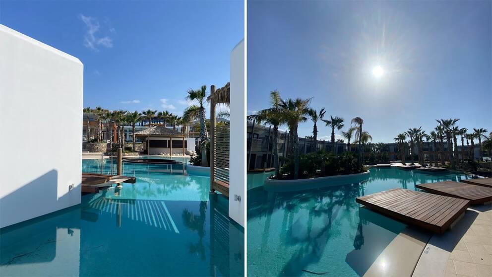 Bilder från poolområde på Kreta.