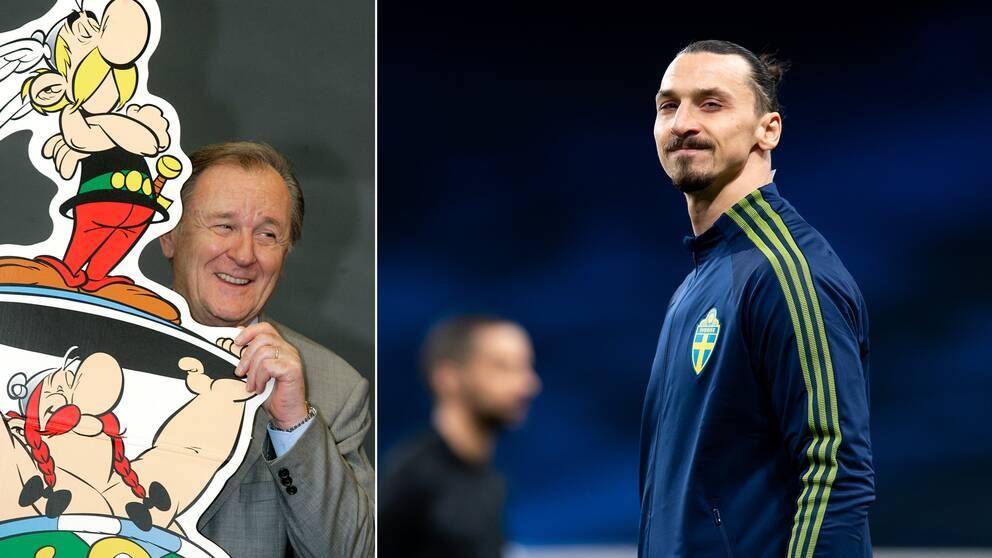 Asterix skapare Albert Uderzo (t v) och Zlatan Ibrahimovic