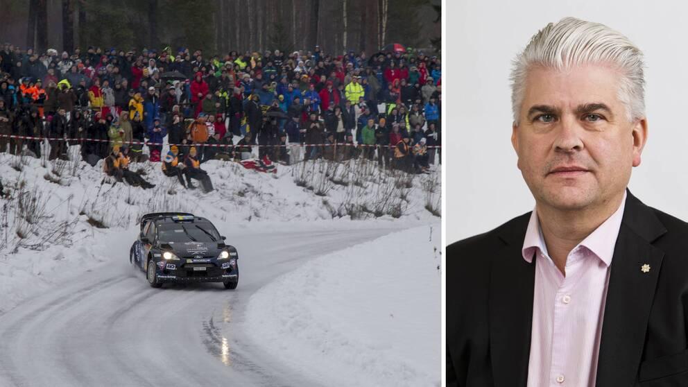 Två bilder. Publik vid Svenska rallyt samt porträtt på Fredrik Larsson.