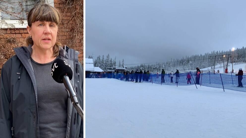 två bilder: en medelålders kvinna som intervjuas utomhus, samt skidåkare i en liftkö