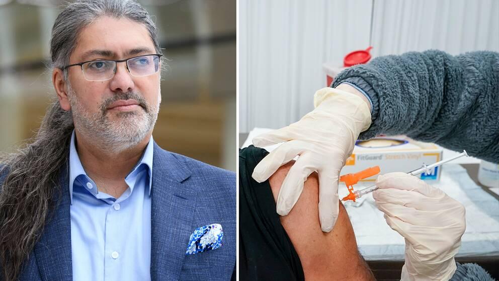Bilden visar professor Ali Mirazimi vid Karolinska institutet samt en man som får vaccin mot covid-19.