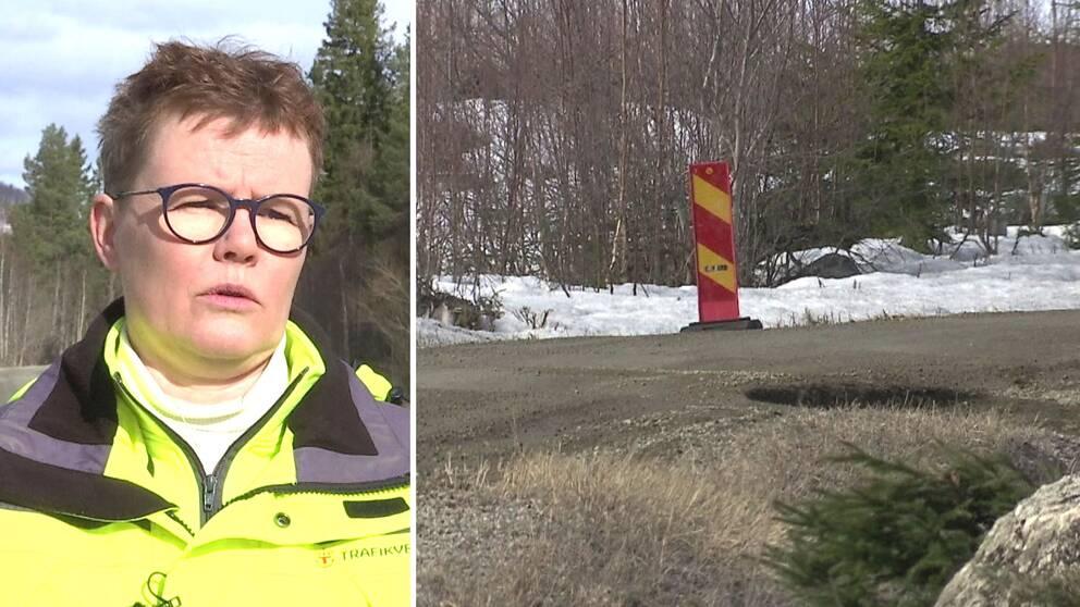 Delad bild. Till vänster kortklippt kvinna med mörkbågade runda glasögon. Hon är klädd i gul varseljacka. Till höger tjälskadad grusväg med varningsskylt.