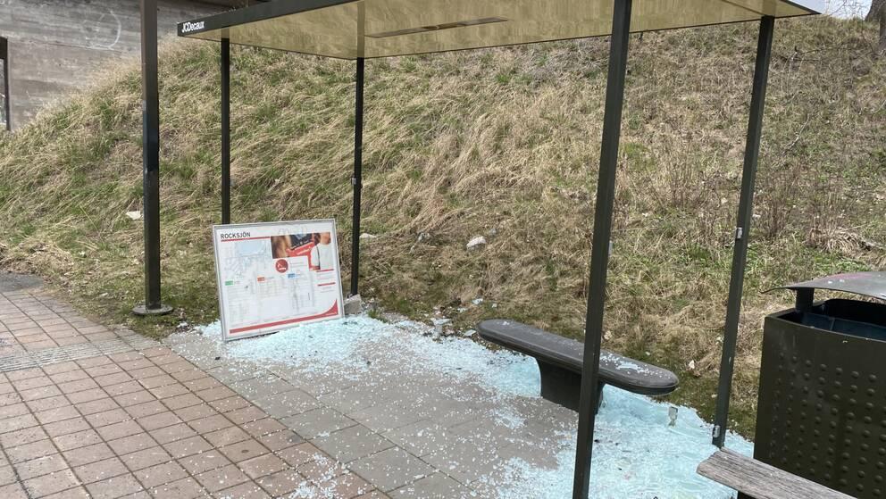 En busskur med samtliga rutor krossade, glassplitter över hela marken.