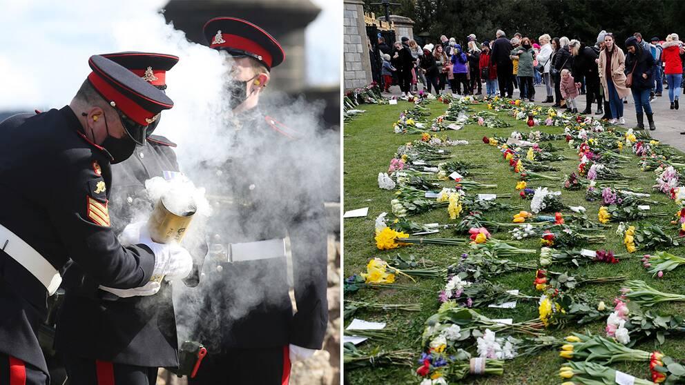 Salutskjutning vid slottet i Edingburgh / Blommor vid Windsorslottet
