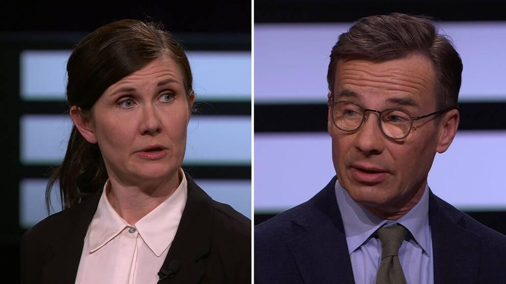 Miljöpartiets ena språkrör Märta Stenevi och Modaterernas partiledare Ulf Kristersson debatterade migrationspolitik i söndagens Agenda.