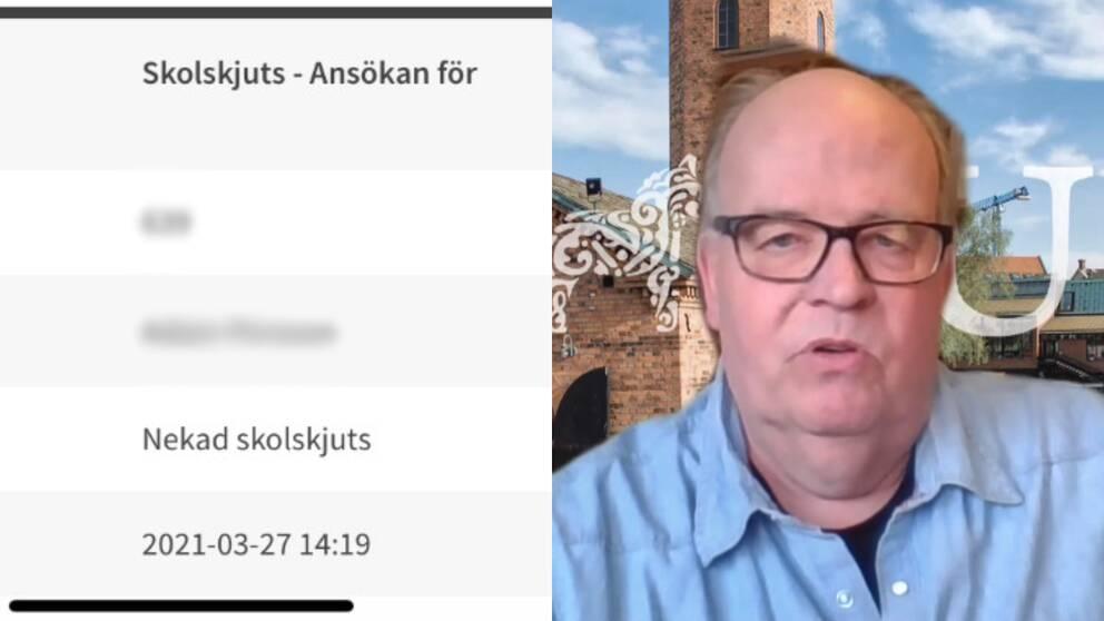 Tvådelad bild på en nekad ansökan och skolskjuts samt Torbjörn Fernkvist på Falun kommun.