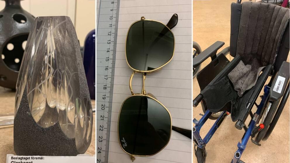 Stulen glaskonst från glasbruken i Pukeberg och Orranäs, personliga tillhörigheter till internationella pilotelever, och två rullstolar från länssjukhuset i Kalmar är några av de föremål som hittades i de två lägenheterna i Nybro.