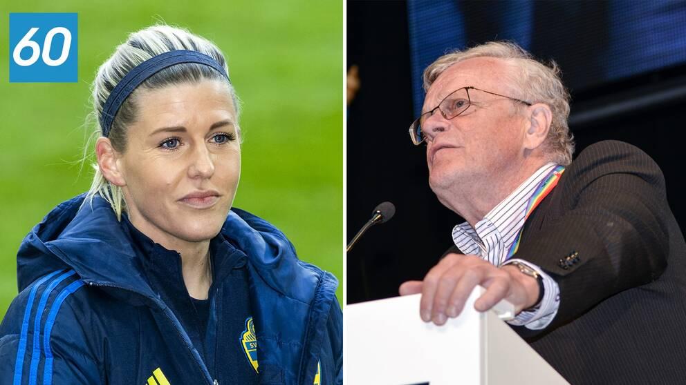 Fotbollsspelaren Olivia Schough hängdes felaktigt ut som dopad. till höger Riksidrottsförbundets ordöfrande Björn Eriksson.