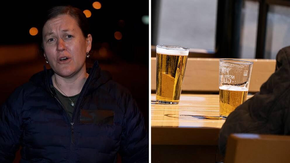 Tove Fall, professor i molekylär epidemiologi vid Uppsala universitet / bild på två glas öl på en servering.