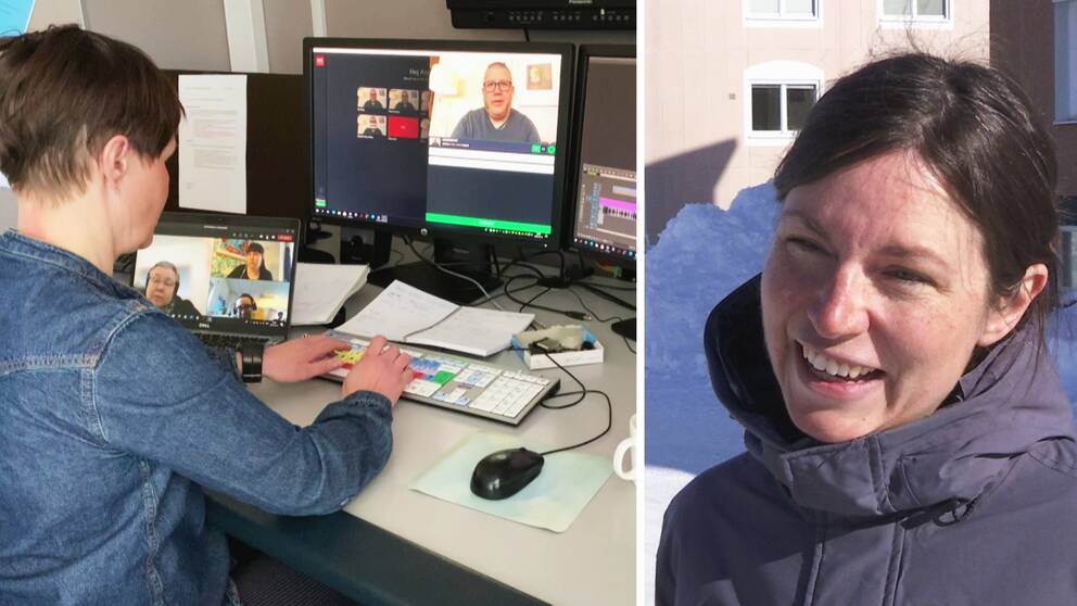 en person som sitter vid skrivbord och redigerar video, samt porträtt på en leende kvinna.