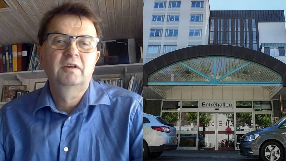 Bilden är delad i två. Den högra bilden är en porträttbild på Johan Danielsson, ordförande i Kronobergs läkarförening. Den vänstra är en bild på entrén till centrallasarettet i Växjö.