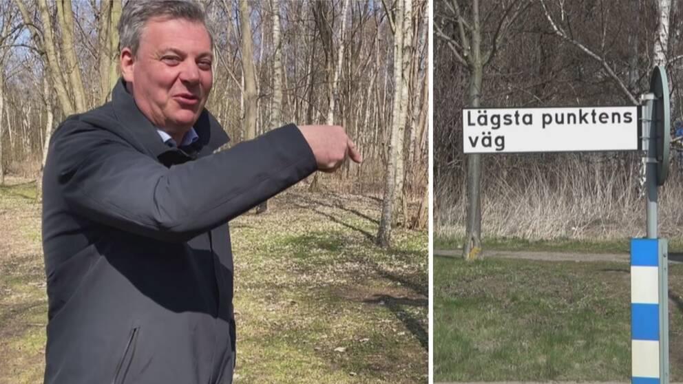 kommunalrådet Pierre Månsson, skylt med texten Lägsta punktens väg