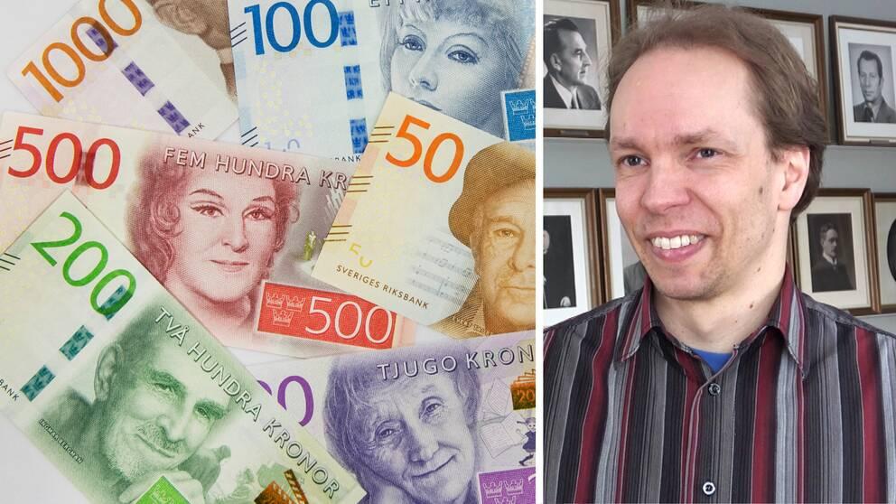 närbild på sedlar, samt porträttbild på en man framför en rad inramade gamla svartvita porträttfoton