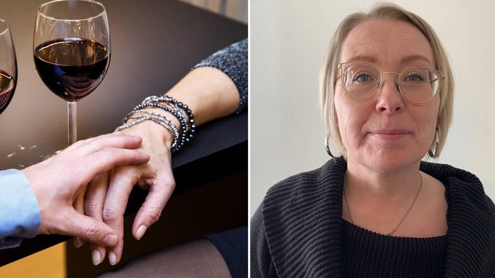 En kvinna med mörk tröja och glasögon