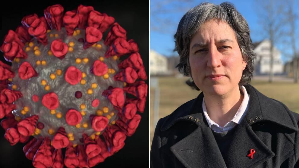 Den vänstra bilden föreställer en illustration av coronaviruset. Den högra bilden är en porträttbild på Region Kalmar läns smittskyddsläkare, Lisa Labbé Sandelin.