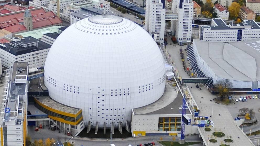 Globen i Stockholm där Eurovision song contest kommer att hållas 2016.