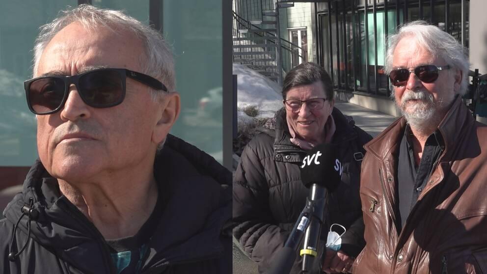 En man med grått hår och solglasögon. En kvinna i svart jacka och glasögon och en man med brun skinnjacka och solglasögon.