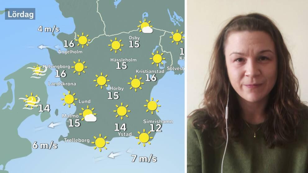väderkarta med många solar, meteorolog Josefin Bergstedt