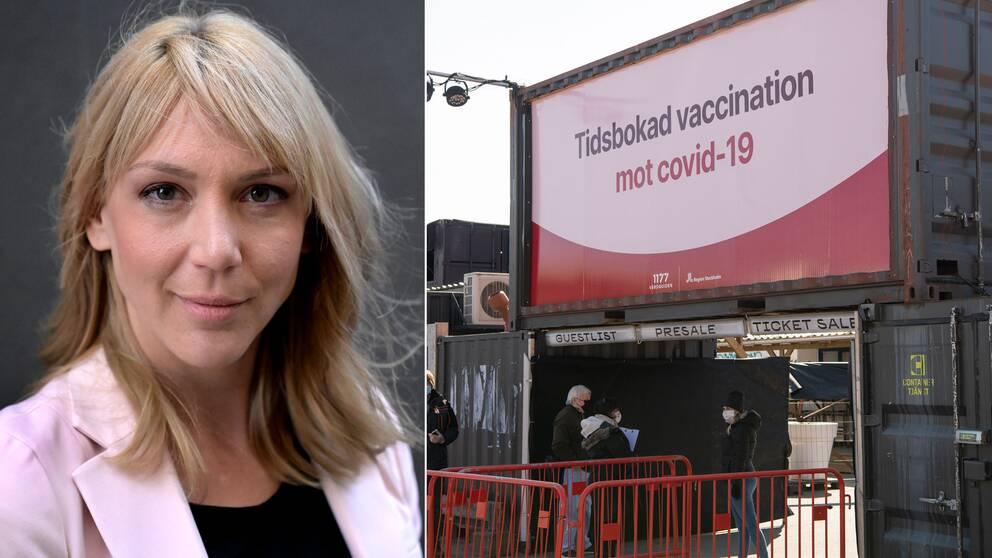 Bland annat positiva nyheter om vaccinet har fått börsen att lyfta senaste året, konstaterar Frida Bratt, sparekonom Nordnet. T.h. kön till massvaccination i klubblokalen Fållan i Slakthusområdet i södra Stockholm