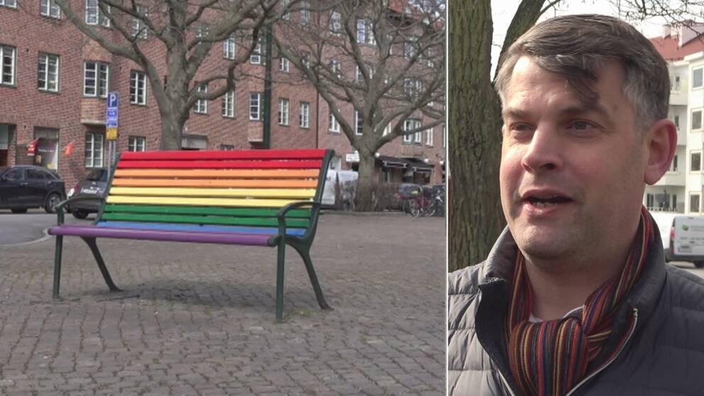regnbågsfärgad bänk, kommunalrådet Andreas Schönström (S)