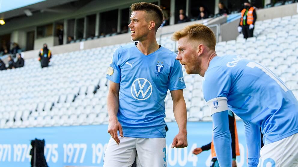Malmö FF:s Jonas Knudsen och Anders Christiansen.
