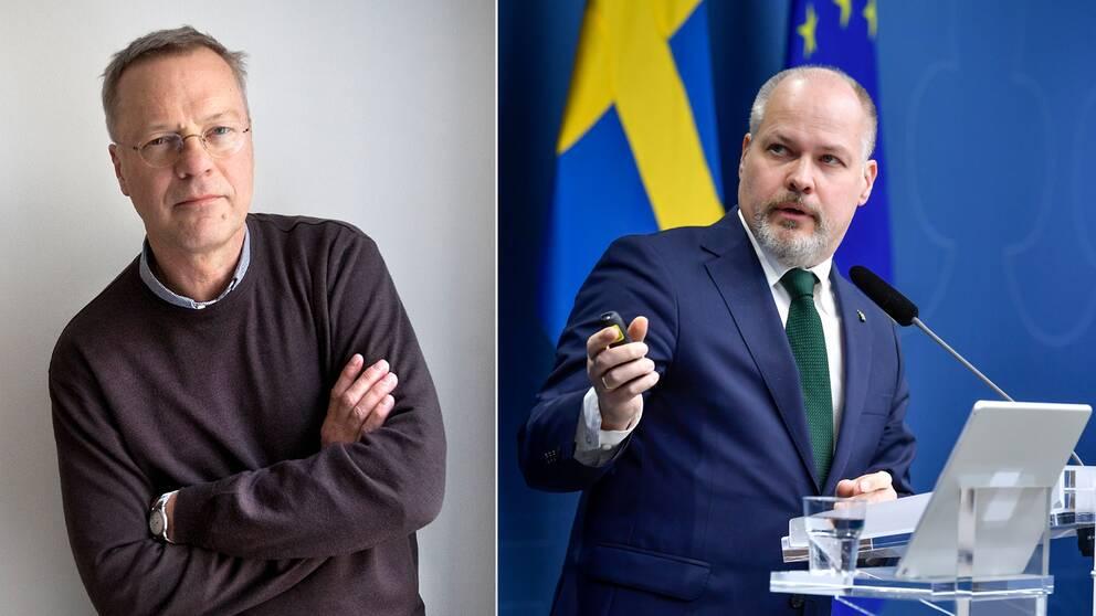 Svante Weyler (t.v), ordförande i Svenska kommittén mot antisemitism, är tveksam till förslaget om förbud mot att förneka Förintelsen som justitieministerMorgan Johansson (t.h) presenterade i veckan.