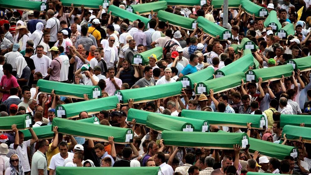 Omkring 8.000 bosniaker (bosniska muslimer) dödades av bosnienserbiska styrkor i och kring Srebrenica i juli 1995. Staden var under FN:s beskydd och många bosniaker hade flytt dit från andra platser i Bosnien.
