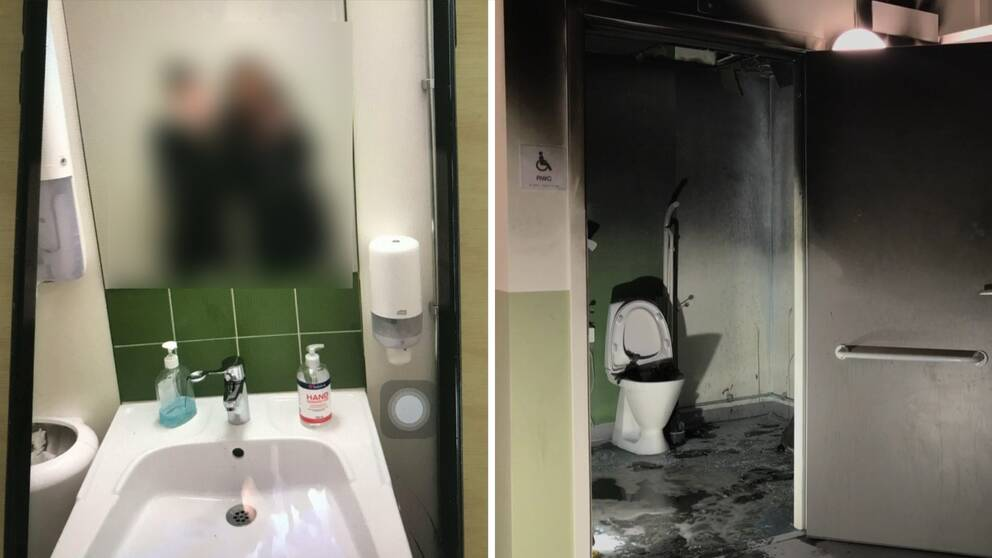 Tjejerna tar en mobilbild efter att ha tänt på handsprit i handfatet. Till höger toaletten efter branden.