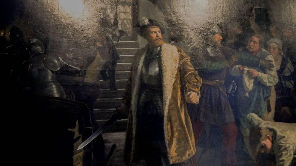 Se klippet där vi får veta mer om striden om Västerås 1521. På tavlan ser vi Gustav Vasa slå sönder ölfat.