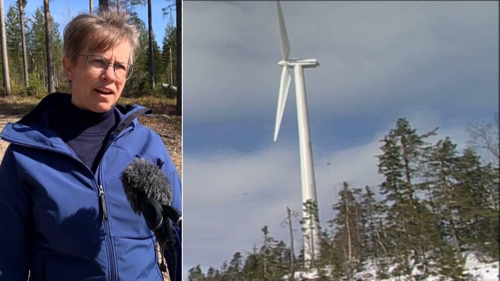 Äppelbo vinds ordförande Anki Gustafsson och Dalarnas äldsta vindkraftverk i Hunflen.