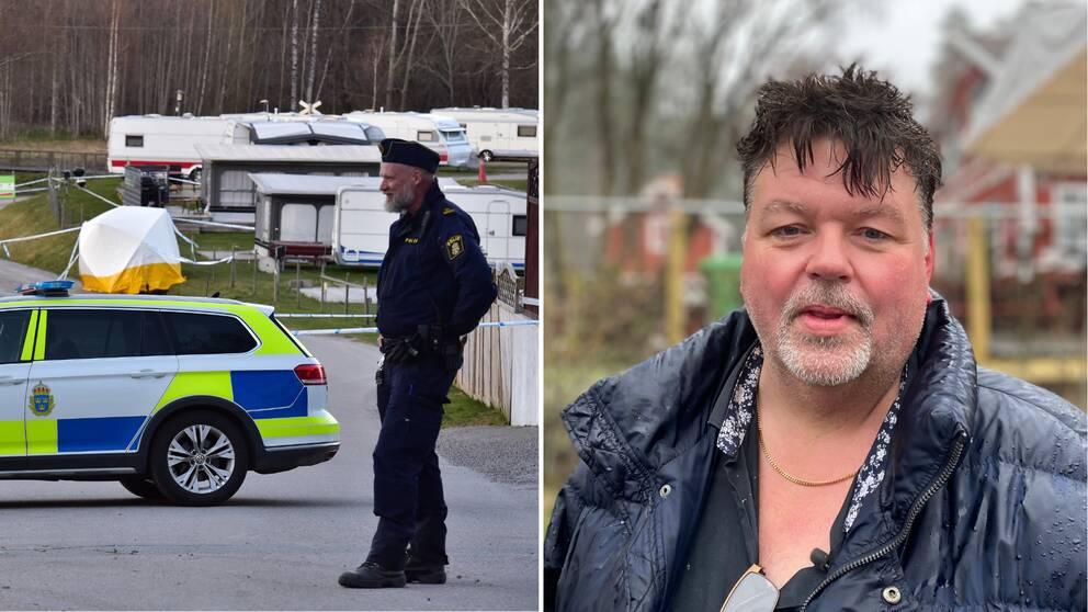 En polis och polisbil syns intill campingområdet, samt en bild på Jack Rydberg.
