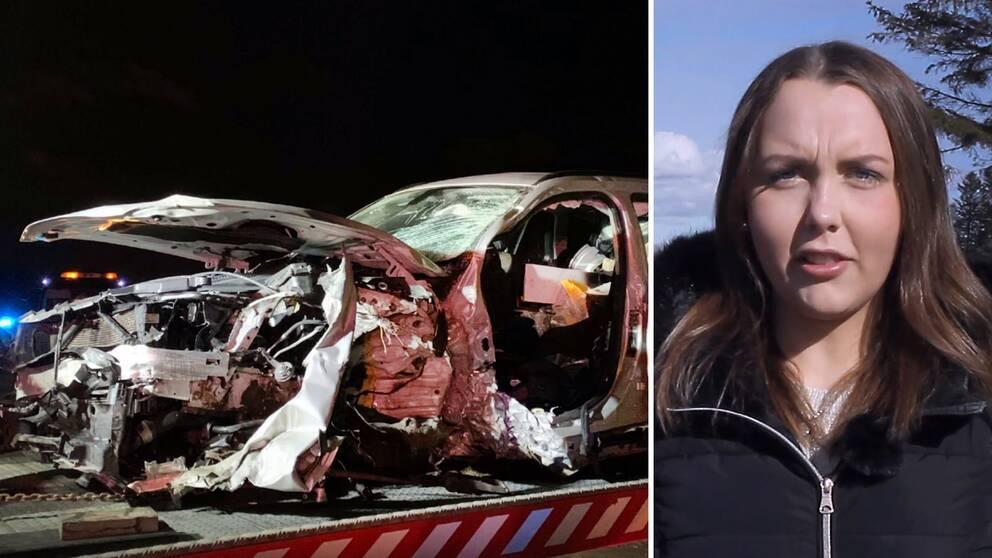 Starta klippet för att se bilderna efter den svåra frontalkrocken, och följ med 20-åriga Alice tillbaka till olycksplatsen på riksväg 25 vid Skedala.