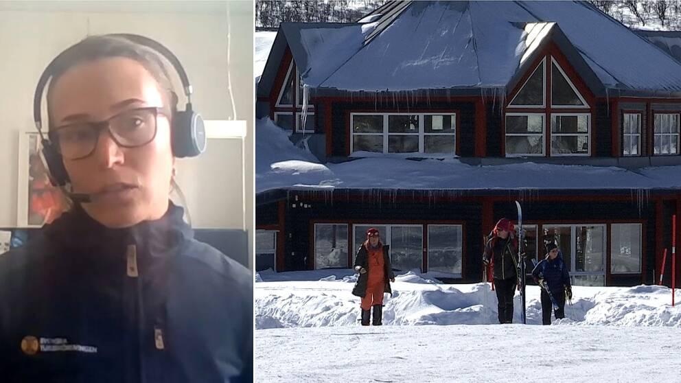 Delad bild. Till vänster kvinna med headset och glasögon. Till vänster tvåvåningsbyggnad med skidåkare utanför.
