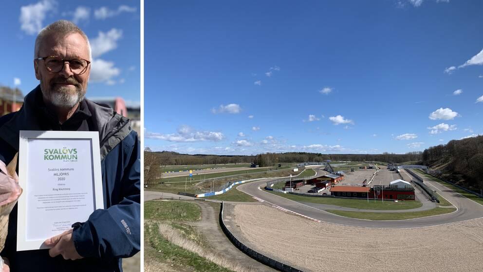 Fotomontage med bild på Magnus Öhrström och en översiktsbild på Ring Knutstorp