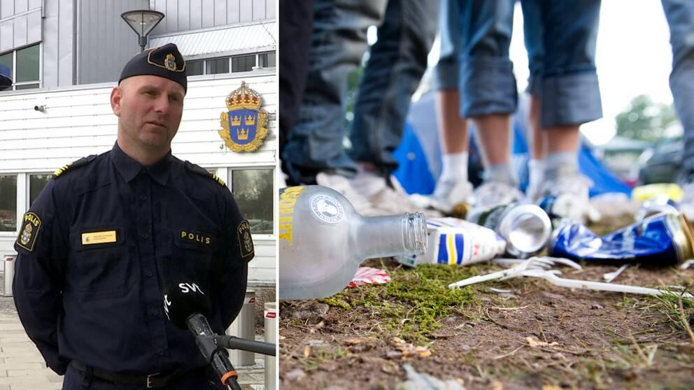 En man i polisuniform står med händerna bakom ryggen framför en byggnad med Polismyndighetens emblem. På bilden bredvid syns en glasflaska, ölburkar och skräp i förgrunden och i bakgrunden jeansbeklädda ben.