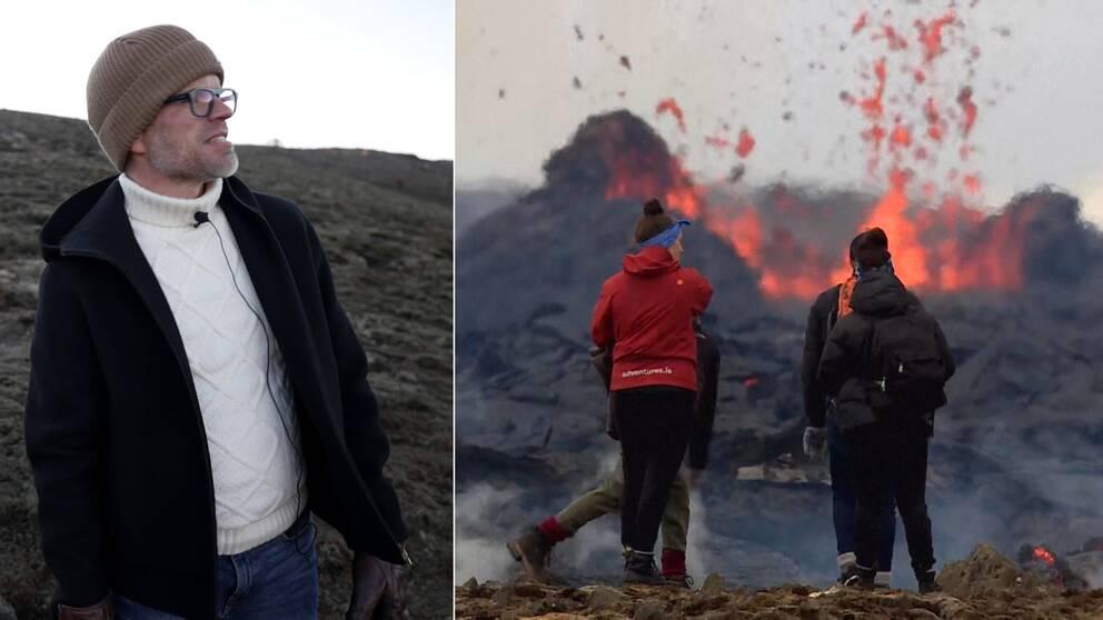 Se Alexander Noréns besök bland turisterna vid den isländska vulkanen.