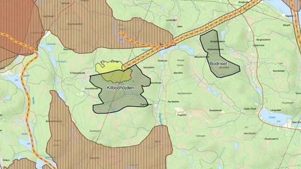 Karta över område i Bräcke och Ragunda. Vissa områden är gråmarkerade, och där ville SCA bygga vindkraftsparker.