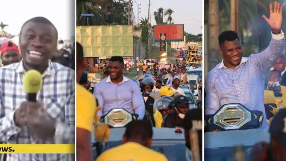 UFC-mästaren Francis Ngannou hyllades med en parad i hemlandet Kamerun. Tusentals slöt upp på gatorna.