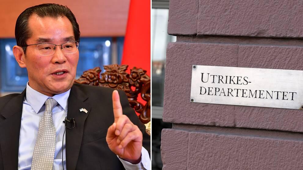 Kinas ambassadör i Sverige Gui Congyou och UD