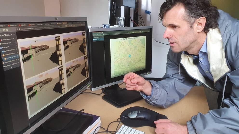 Valentin Polishchuk, forskare Linköpings Universitet, framför datorskärm