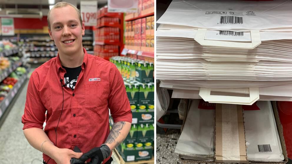 Elliot Nyroos är arbetsledare i en matbutik i Säter.