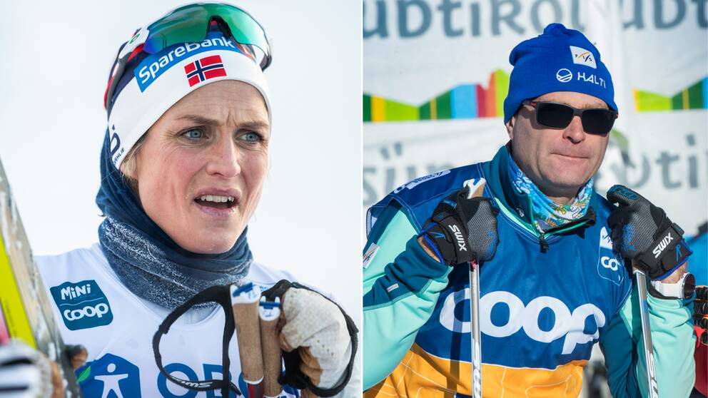 Norges Therese Johaug och Fis-chefen Pierre Mignerey.