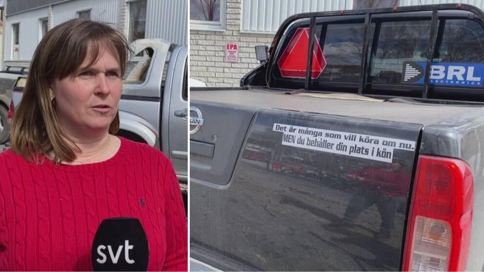 Bildkollage. På bilden till vänster en kvinna i röd tröja, med fordon i bakgrunden. Till höger en A-traktor med en dekal där det står Det är många som vill köra om nu. Men du behåller din plats i kön.