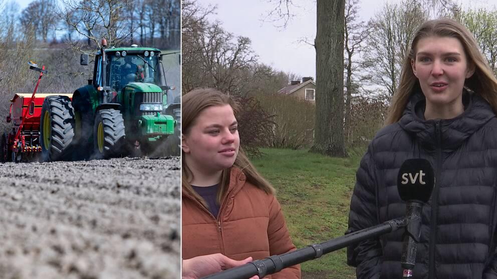 Felicia Fredriksson och Matilda Persson Berg på naturbruksgymnasiet i Kalmar.