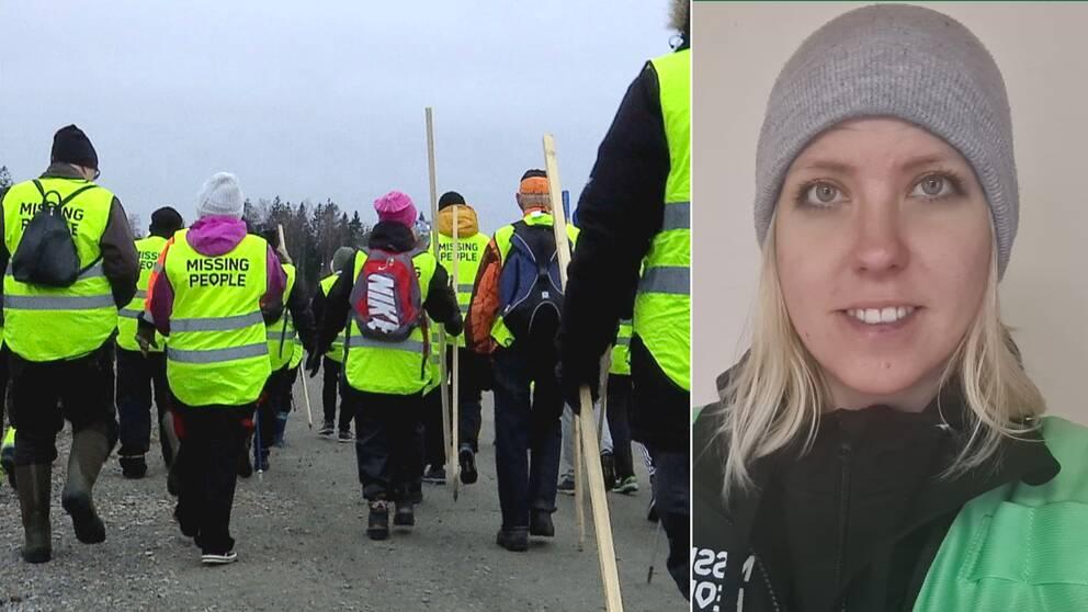 """Bilden är ett collage. Den vänstra bilden visar ryggarna på flera personer iklädda gula reflexvästar som det sår """"Missing People"""" på, på ryggen. Den vänstra bilden är en porträttbild på Johanna Hedlund, verksamhetsledare för Missing People Kalmar."""