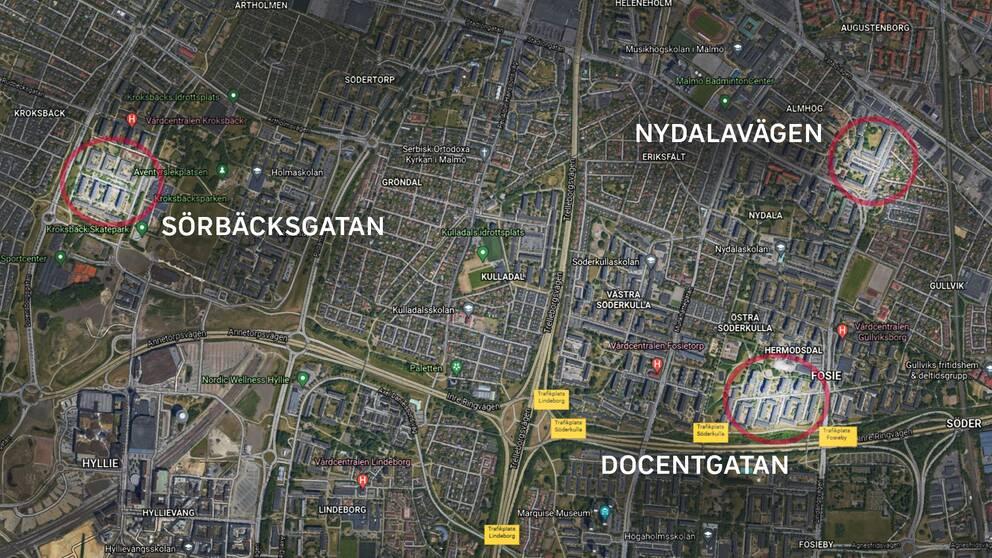 Här är de tre adresserna i södra delarna av Malmö där explosionerna inträffade, natten mot torsdag.